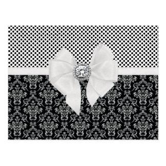 Carte Postale Pois noir et blanc élégant vintage de damassé
