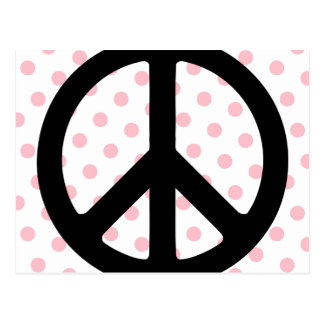 Carte Postale Pois rose avec le symbole de paix noir