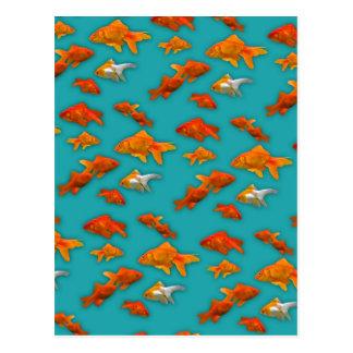 Carte Postale Poisson rouge sur la turquoise