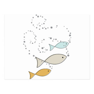 Carte Postale Poissons et bulles