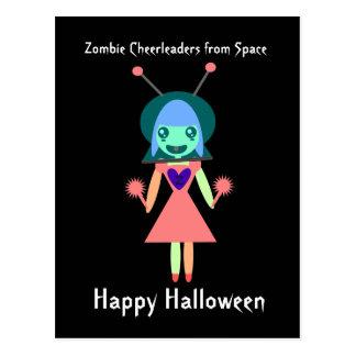 Carte Postale Pom-pom girl de zombi de l'espace Halloween