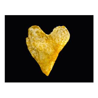 Carte Postale Pommes chips en forme de coeur