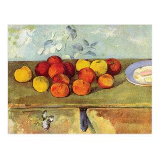 Carte Postale Pommes et biscuits par Paul Cezanne