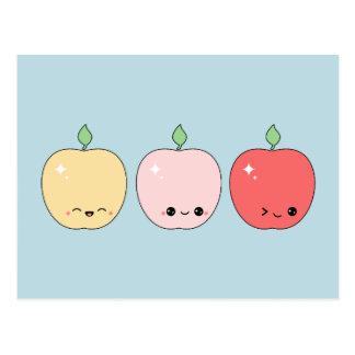 Carte Postale Pommes heureuses mignonnes