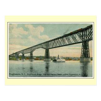 Carte Postale Pont 1913, train, bateau de Poughkeepsie de cru