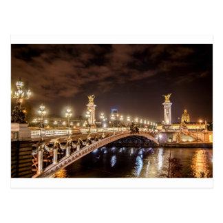 Carte Postale Pont d'Alexandre 3 à Paris France la nuit