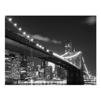 Carte Postale Pont de Brooklyn et horizon de Manhattan la nuit