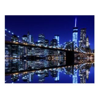 Carte Postale Pont de Brooklyn et la statue de la liberté la