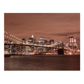 Carte Postale Pont de Brooklyn la nuit, New York City