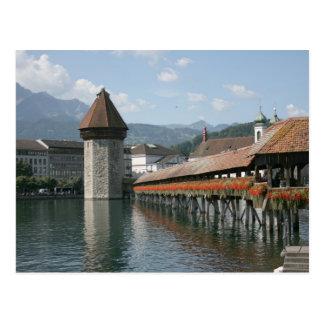 Carte Postale Pont de chapelle, luzerne, Suisse