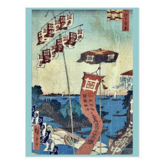 Carte Postale Pont de Kanasugi chez Shibaura par Ando, Hiroshige