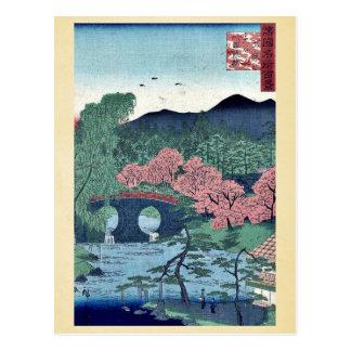Carte Postale Pont de Megane à l'otani par Utagawa, Hiroshige