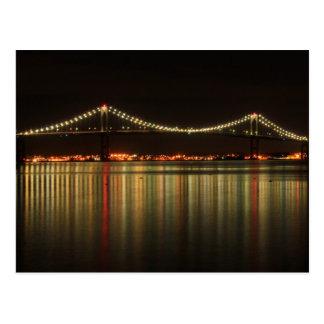 Carte Postale Pont de Newport Pell la nuit Île de Rhode
