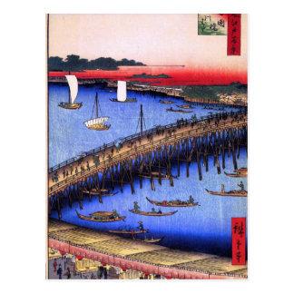 Carte Postale Pont de Ryōgoku et la grande rive (両国橋大川ばた)