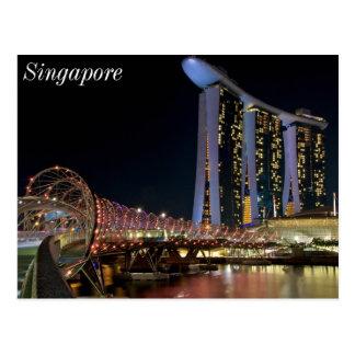 Carte Postale Pont d'hélice de Singapour sur des sables de baie
