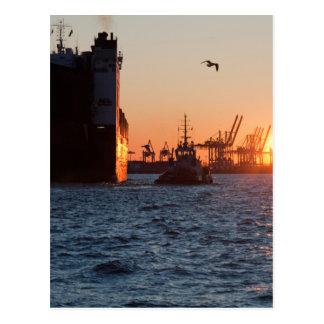 Carte Postale Port de Hambourg de coucher du soleil
