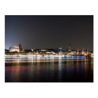 Carte Postale Port de Hambourg la nuit