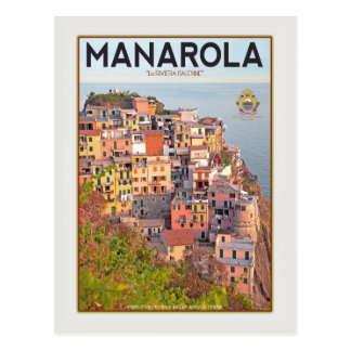 Carte Postale Port de vignoble de Manarola - sur le blanc