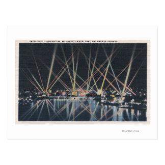Carte Postale Portland, OU - illumination de cuirassé