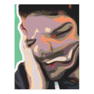 Carte Postale Portrait abstrait de Photoshop - rire obscur