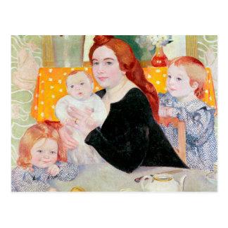 Carte Postale Portrait de famille nombreuse dans le bleu et le