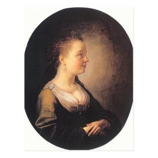 Carte Postale Portrait de Gerrit Dou d'une jeune femme