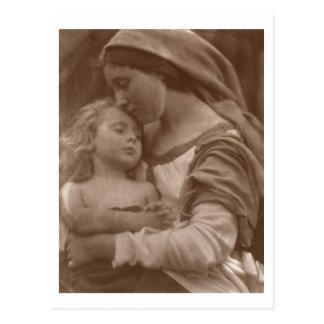 Carte Postale Portrait de mère et d'enfant (photo de sépia)