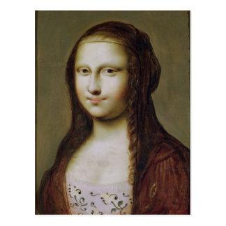 Carte Postale Portrait d'une femme inspirée par la Mona Lisa