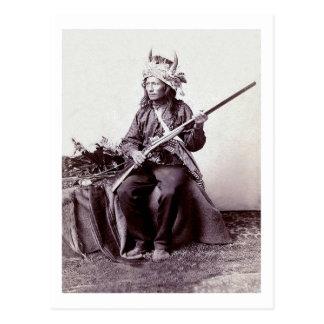 Carte Postale Portrait vintage de guerrier de Natif américain