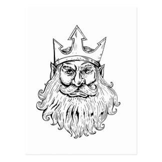 Carte Postale Poseidon portant la gravure sur bois en couronne