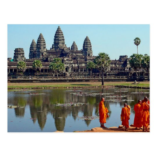 Carte Postale Postcard Buddhists in Angkor Wat, Cambodia