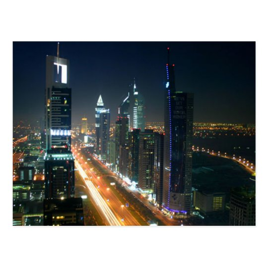 Carte Postale Postcard Dubai Night Skyline, Saudi Arabia