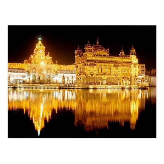 Carte Postale Postcard Golden Temple India (night) Punjab, India