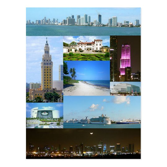Carte Postale Postcard Miami Monuments, Florida, USA