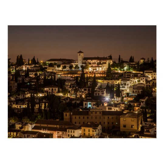 Carte Postale Postcard Night view from Alhambra de Granada Spain