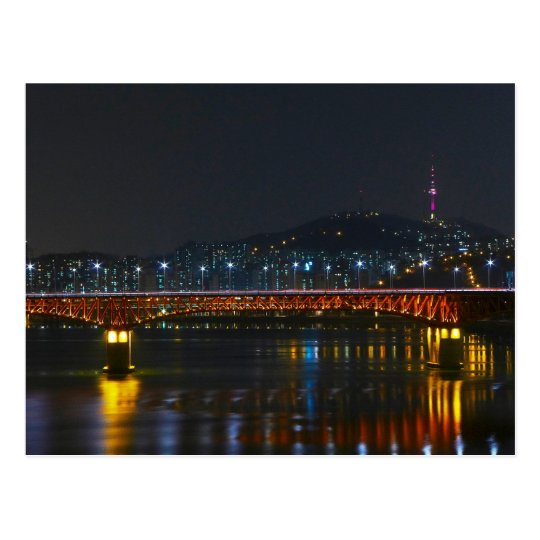 Carte Postale Postcard Seongsu Bridge / Seoul Tower, South Korea