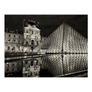 Carte Postale Postcard The Louvre Pyramid In Black / White Paris