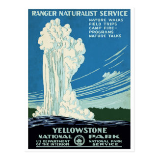 Carte Postale Poster vintage de parc national de Yellowstone
