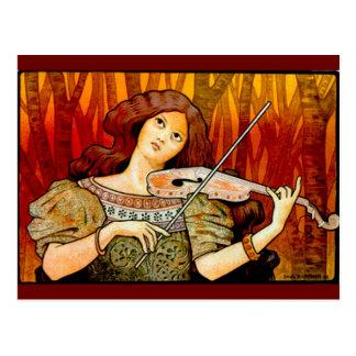 Carte Postale Poster vintage de violon de musique de Lecons
