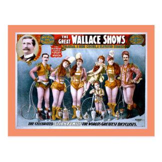 Carte Postale Poster vintage d'exposition de cirque de Wallace