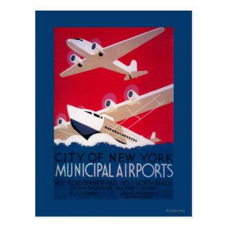 Carte Postale Poster vintage municipal d'aéroport de New York