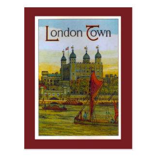 Carte Postale Poster vintage, ville de Londres, péniche de la
