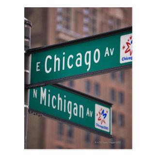 Carte Postale Poteaux indicateurs d'avenue de Chicago et du