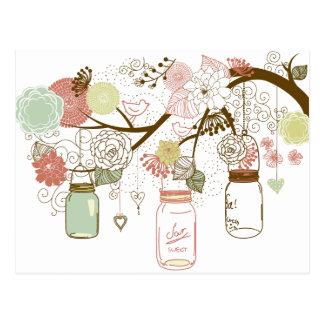 Carte Postale Pots de maçon et jolies fleurs