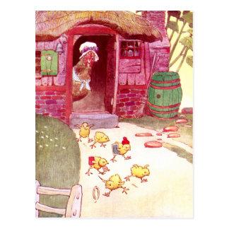 Carte Postale Poule dans les poussins de observation de Chambre