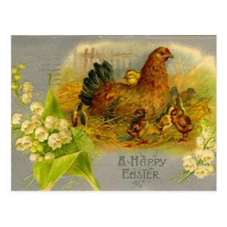 Carte Postale Poule vintage de Pâques