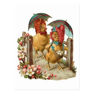 Carte Postale Poules heureuses de Pâques vintages