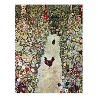 Carte Postale Poulets du chemin W de jardin, Gustav Klimt, art