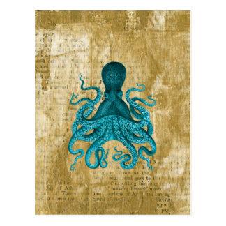 Carte Postale Poulpe de turquoise sur la grunge d'or