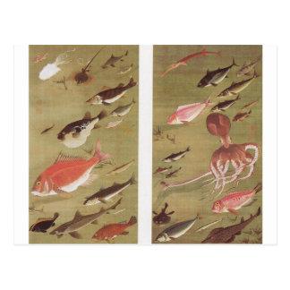 Carte Postale Poulpe et poissons par Ito Jakuchu